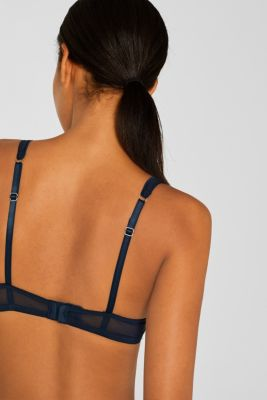 Half-padded underwire bra with stripes, NAVY, detail