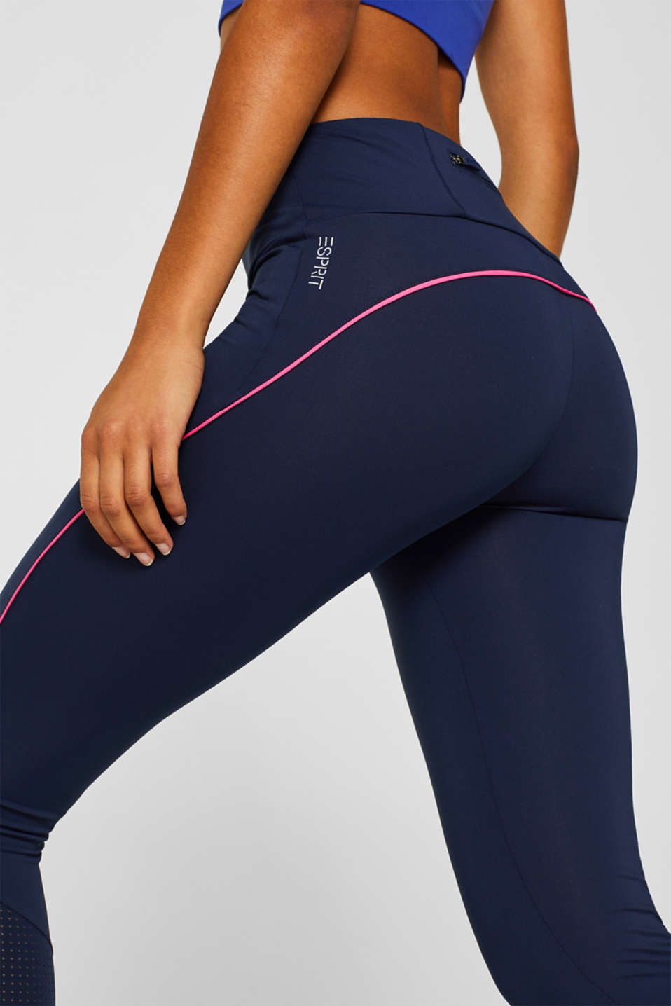 Active leggings with mesh inserts, E-DRY, NAVY, detail image number 2
