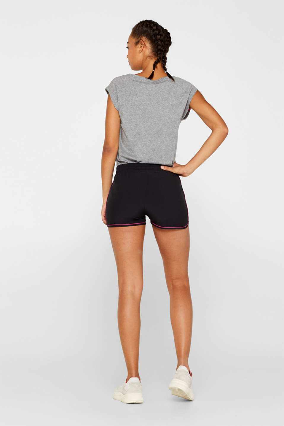 Stretch shorts with contrasting trims, BLACK, detail image number 3