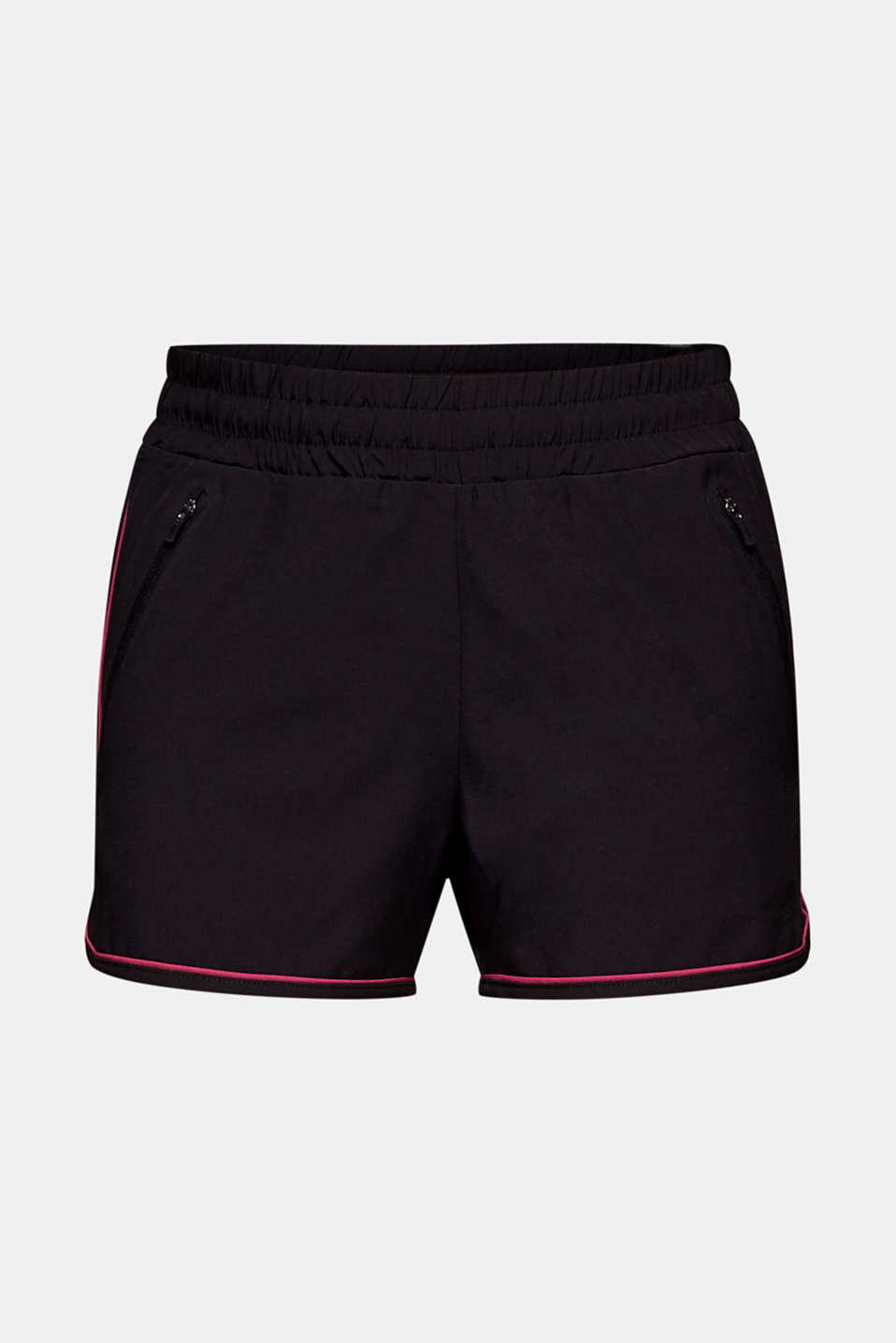 Stretch shorts with contrasting trims, BLACK, detail image number 5
