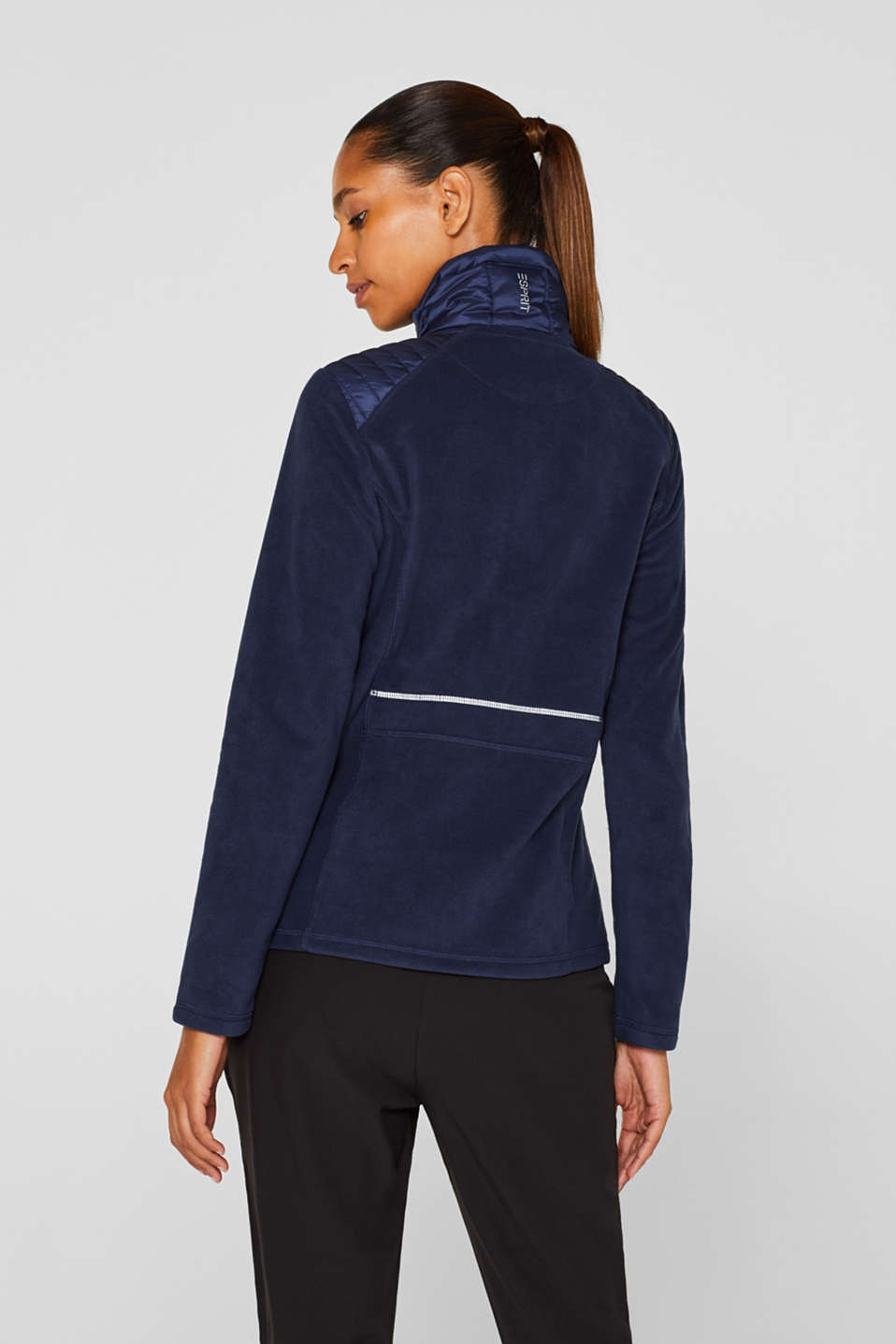 Fleece jacket with nylon details, NAVY, detail image number 3