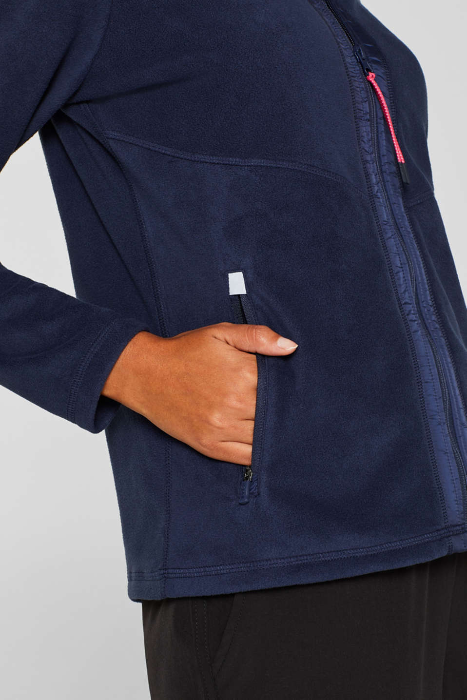 Fleece jacket with nylon details, NAVY, detail image number 2