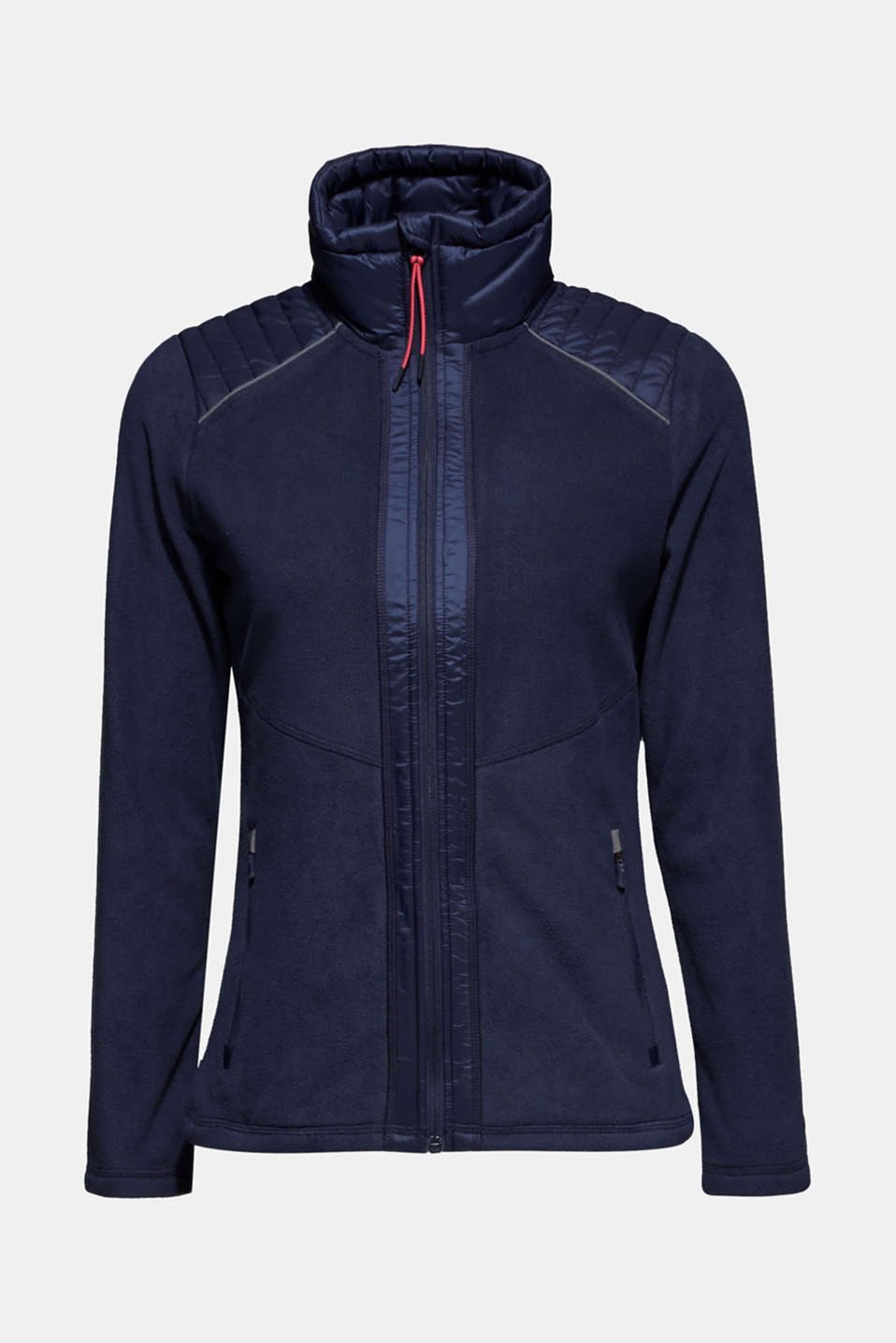 Fleece jacket with nylon details, NAVY, detail image number 6