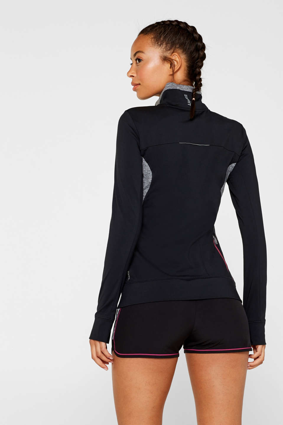 Active long sleeve top with stand-up collar, E-DRY, BLACK, detail image number 3