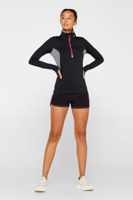 Active long sleeve top with stand-up collar, E-DRY, BLACK, detail