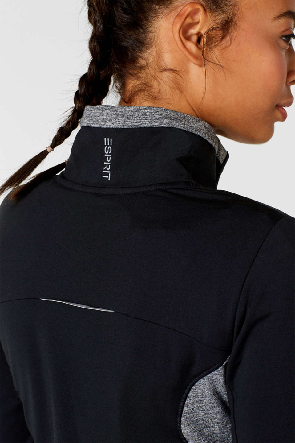 Active long sleeve top with stand-up collar, E-DRY, BLACK, detail image number 2