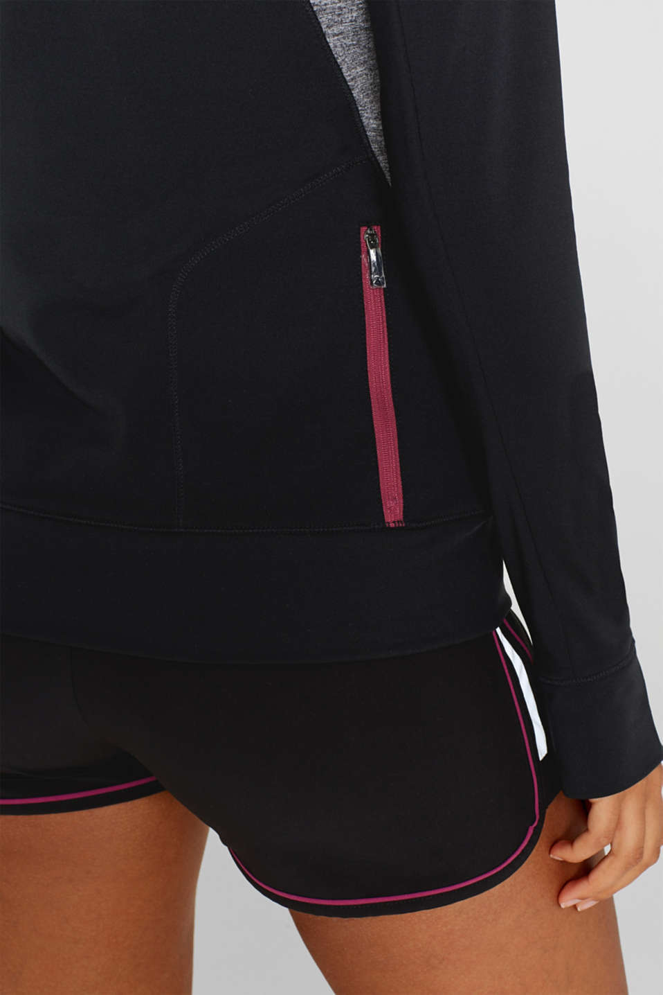 Active long sleeve top with stand-up collar, E-DRY, BLACK, detail image number 6