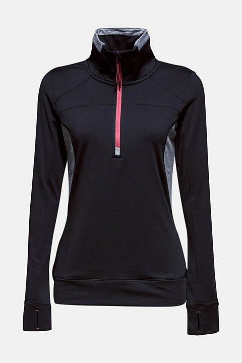 Active long sleeve top with stand-up collar, E-DRY