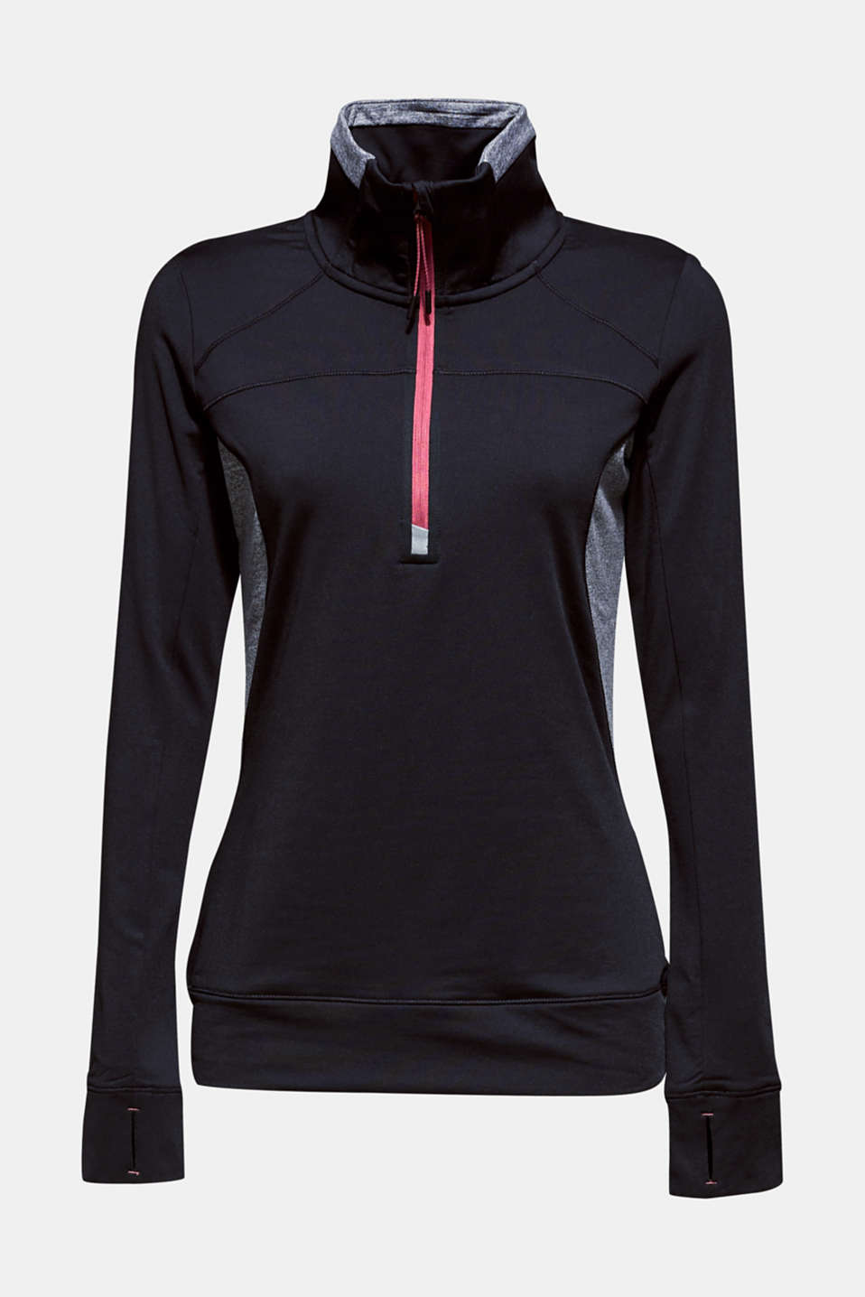 Active long sleeve top with stand-up collar, E-DRY, BLACK, detail image number 8