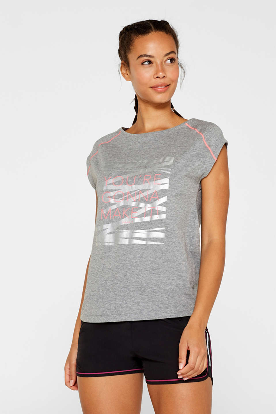 Melange top with a print on the front, MEDIUM GREY 2, detail image number 0