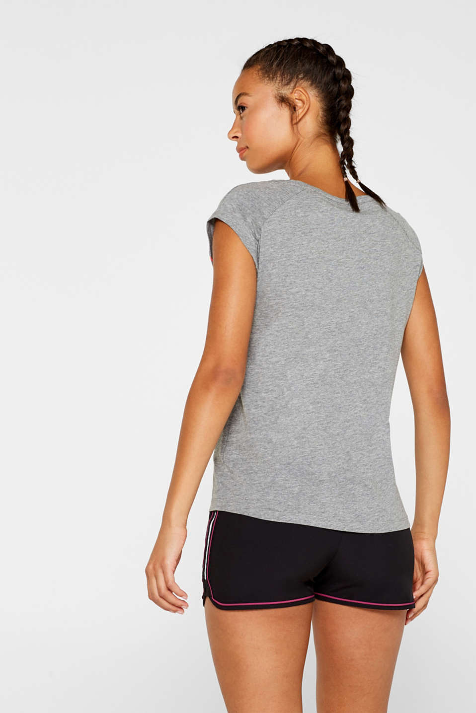 Melange top with a print on the front, MEDIUM GREY 2, detail image number 3