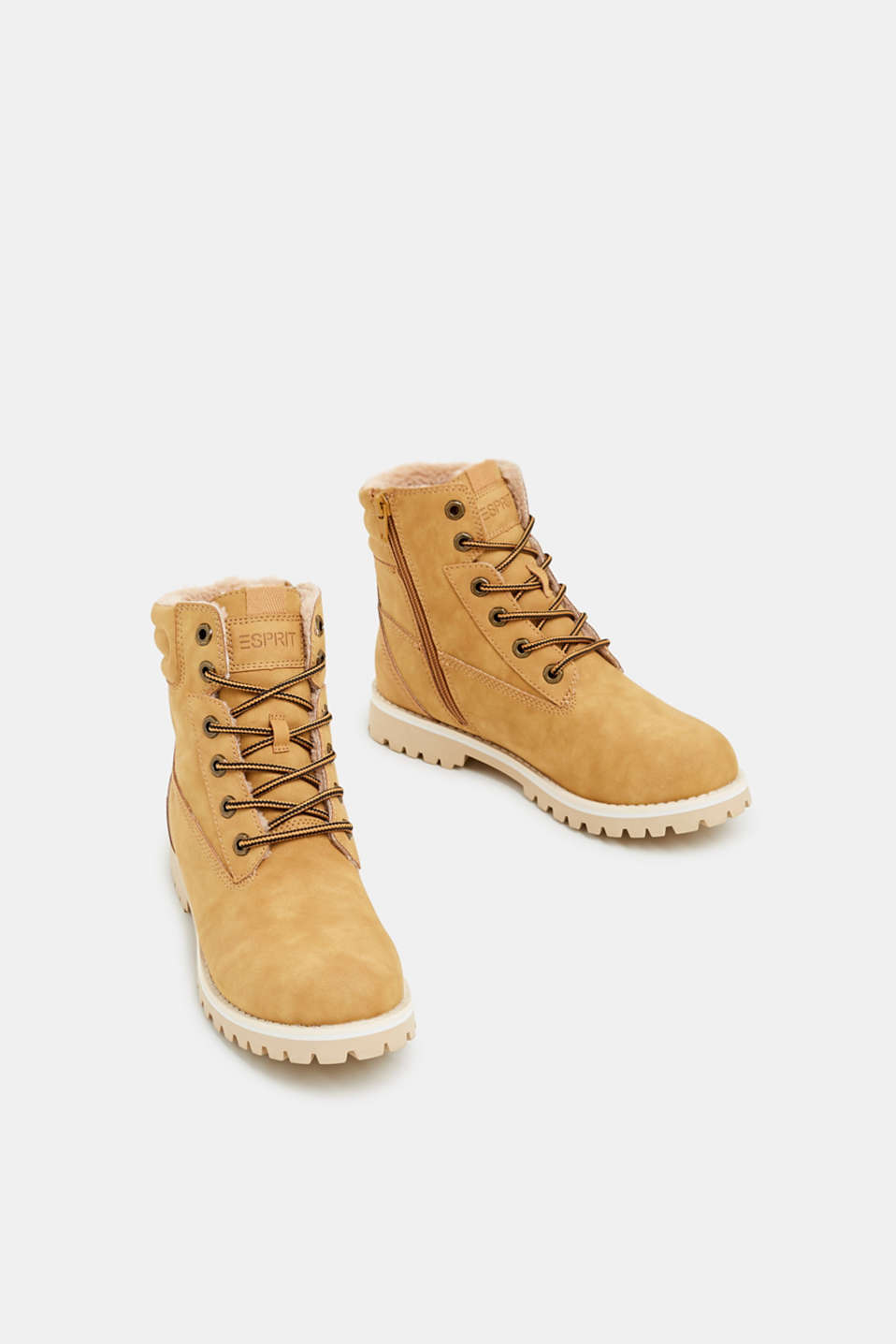 Lace-up boots with faux fur lining, AMBER YELLOW, detail image number 1