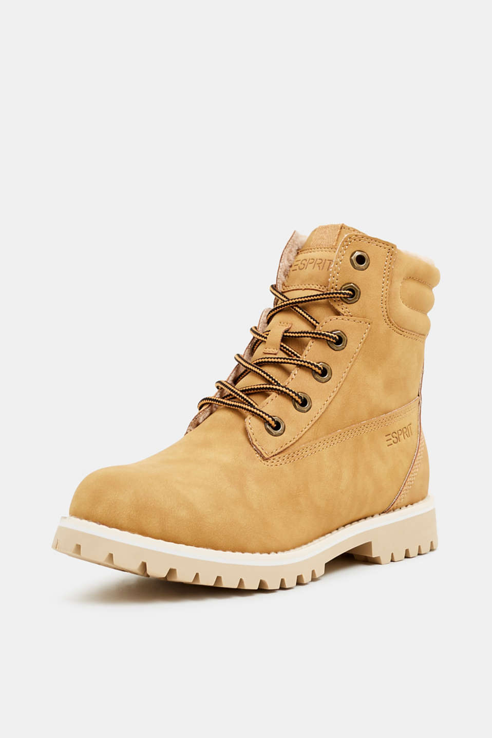 Lace-up boots with faux fur lining, AMBER YELLOW, detail image number 2
