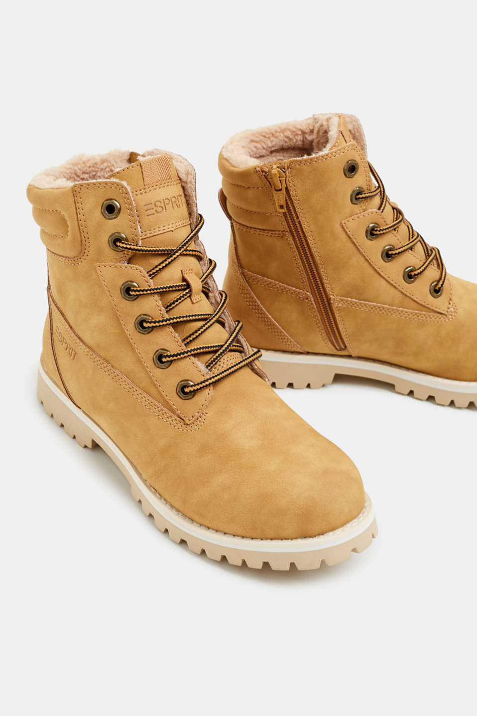 Lace-up boots with faux fur lining, AMBER YELLOW, detail image number 4