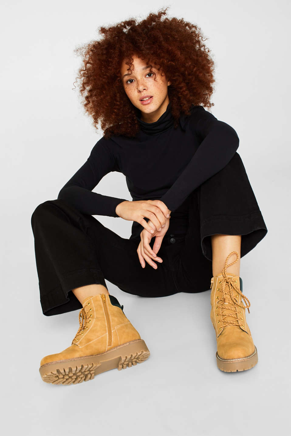 Lace-up boots with faux fur lining, AMBER YELLOW, detail image number 3