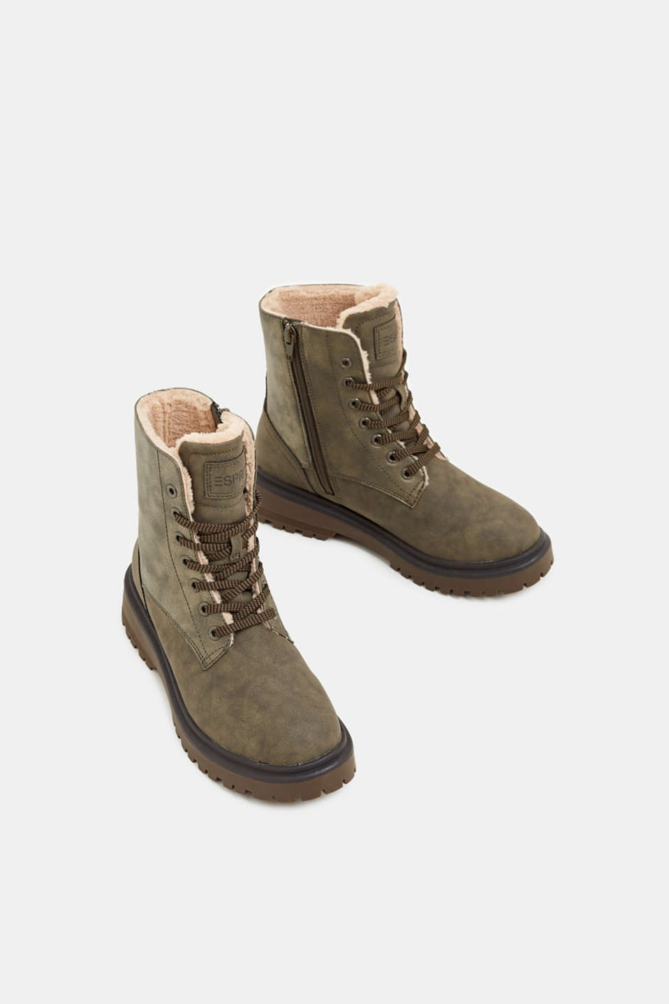 Lace-up boots with faux fur lining, DARK KHAKI, detail image number 1