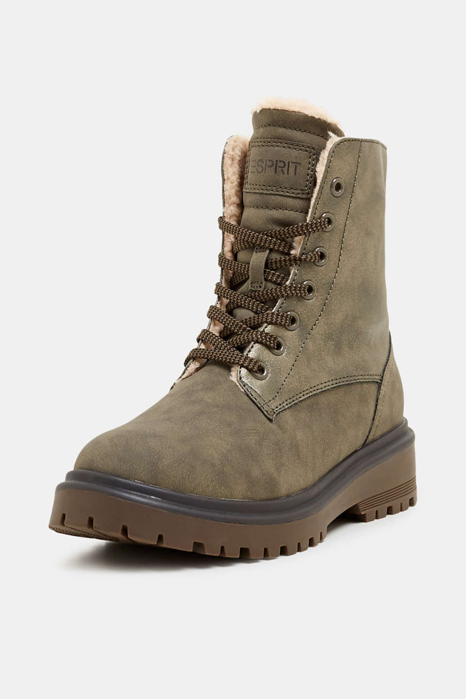 Lace-up boots with faux fur lining, DARK KHAKI, detail image number 2