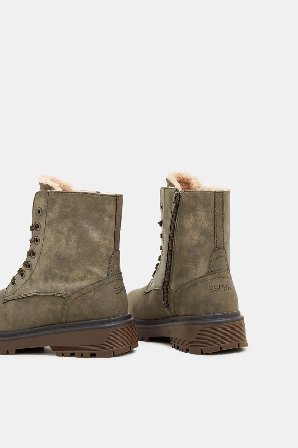 Lace-up boots with faux fur lining, DARK KHAKI, detail image number 5