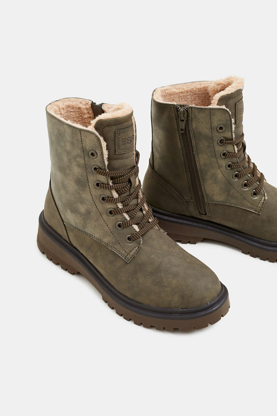 Lace-up boots with faux fur lining, DARK KHAKI, detail image number 4