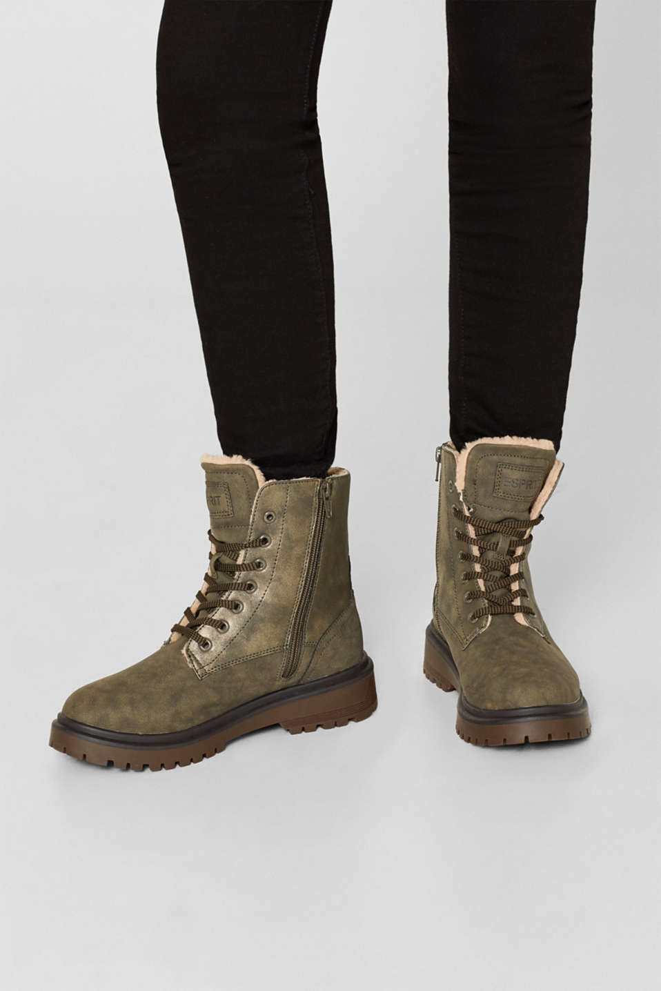 Lace-up boots with faux fur lining, DARK KHAKI, detail image number 3