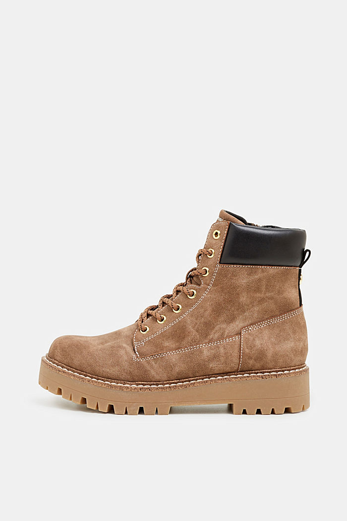 Lace-up boots in a rustic look, KHAKI BEIGE, detail image number 0