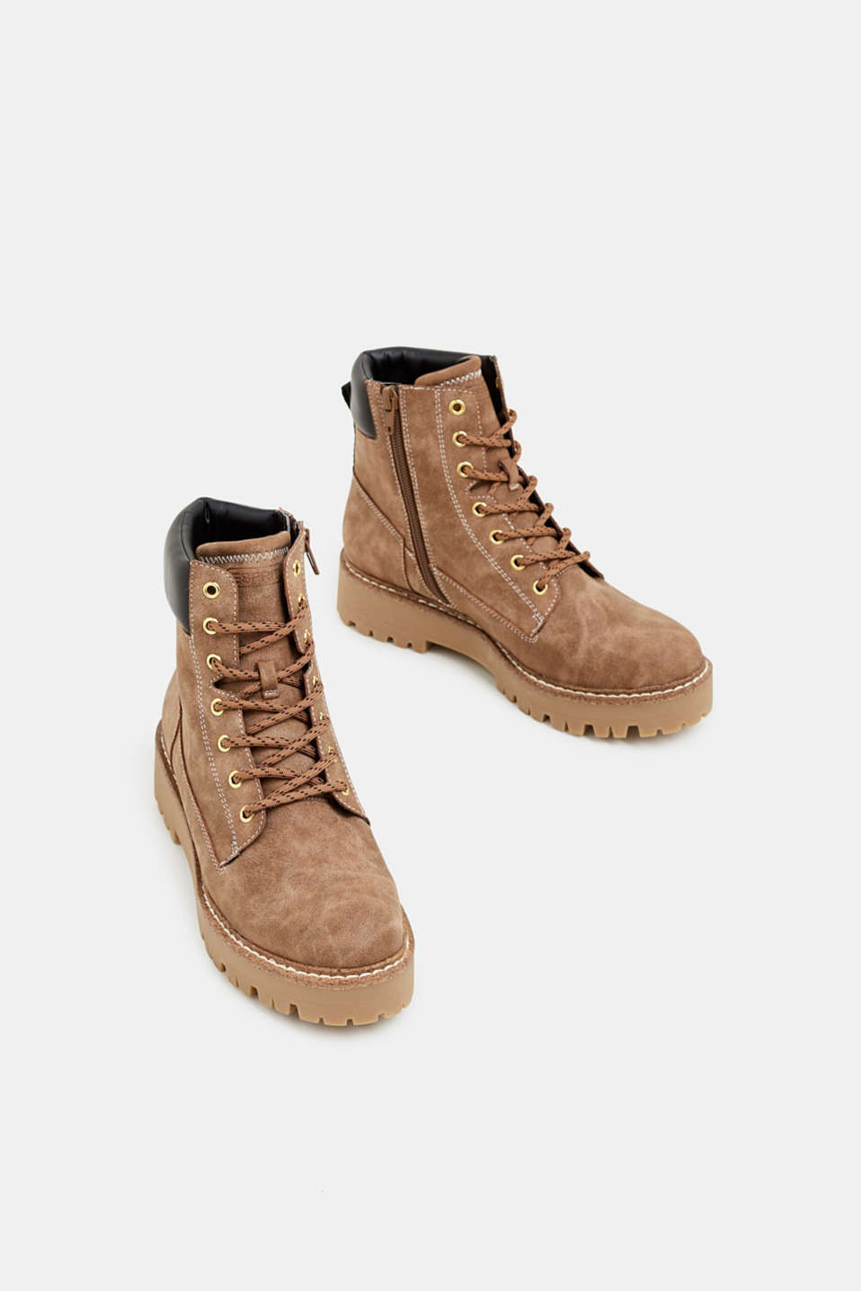 Lace-up boots in a rustic look, KHAKI BEIGE, detail image number 1