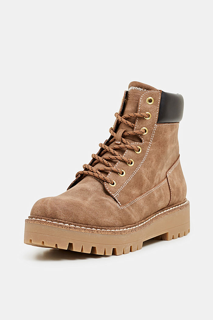 Lace-up boots in a rustic look, KHAKI BEIGE, detail image number 2