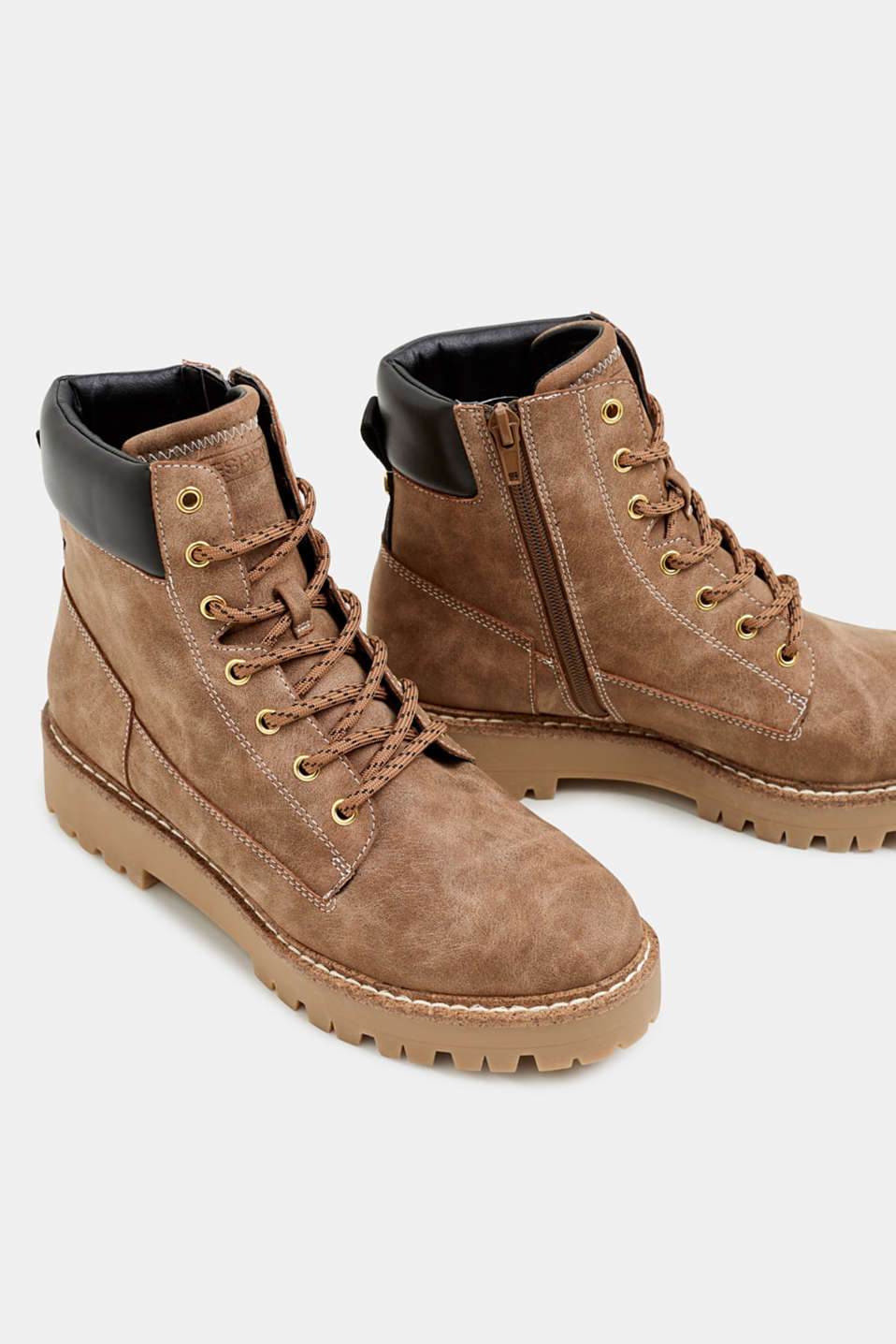 Lace-up boots in a rustic look, KHAKI BEIGE, detail image number 4