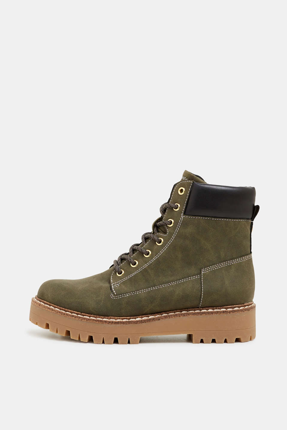 Lace-up boots in a rustic look, DARK KHAKI, detail image number 0