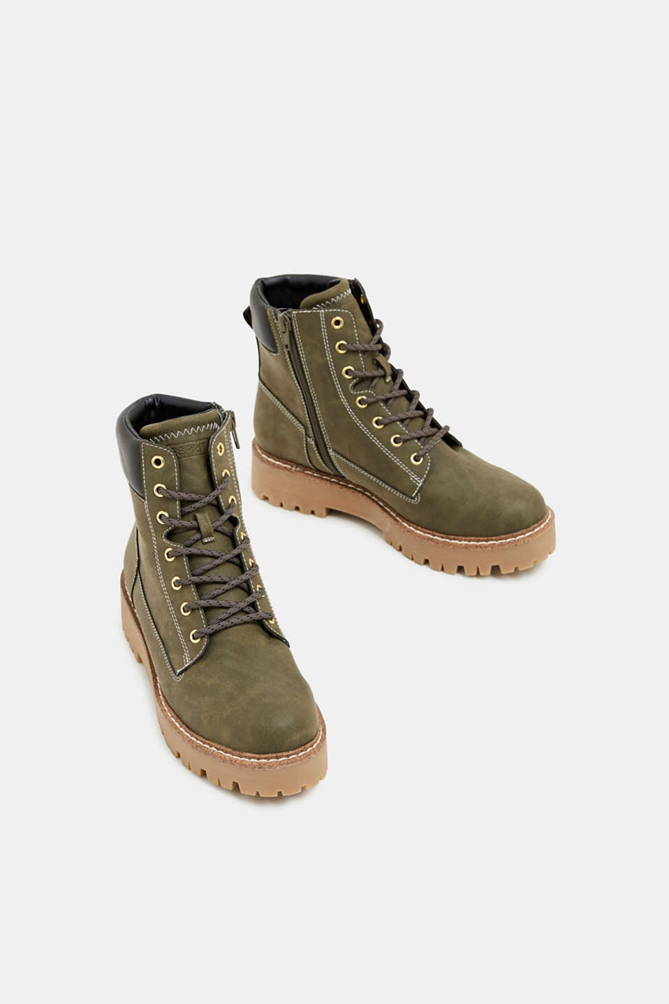 Lace-up boots in a rustic look, DARK KHAKI, detail image number 1