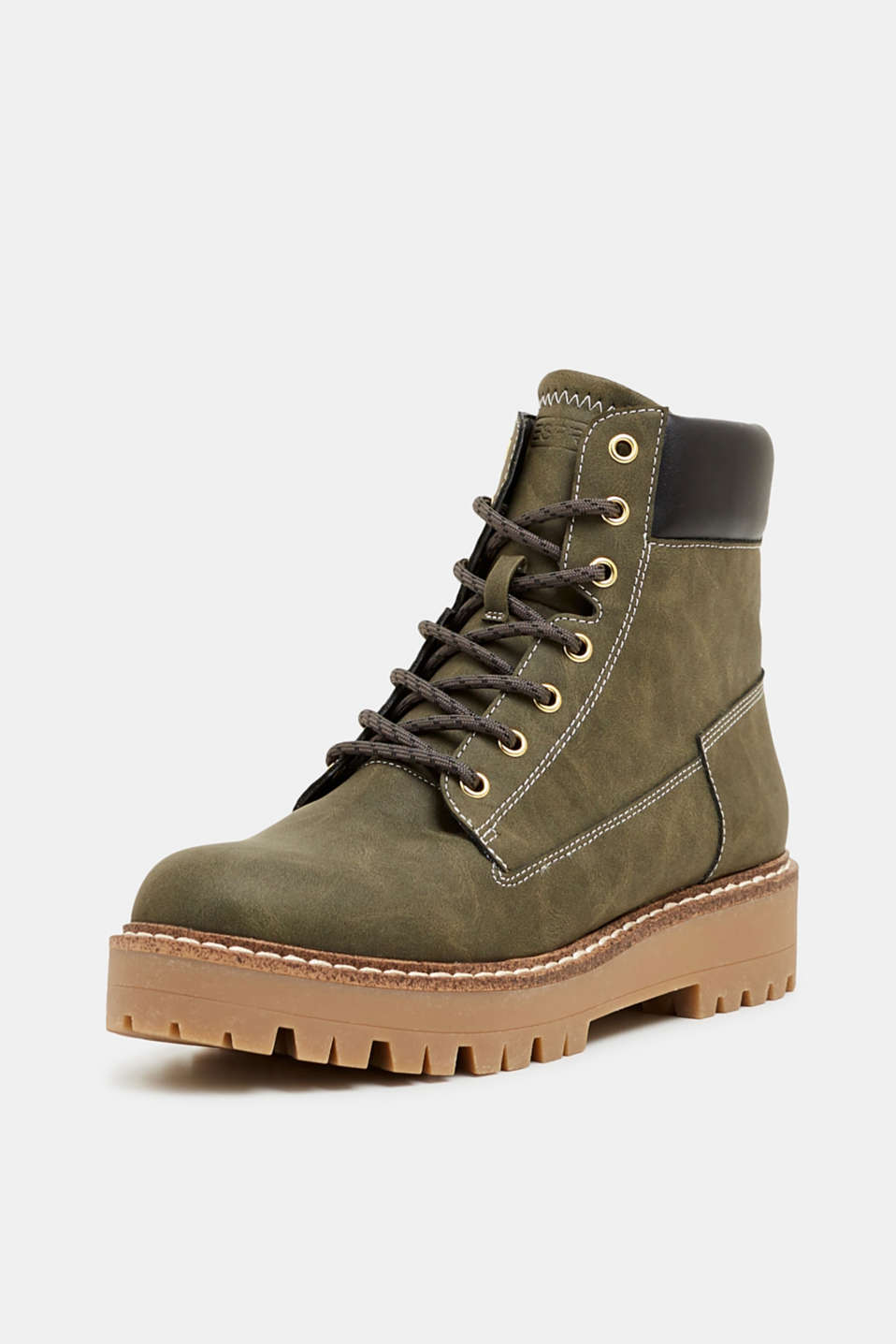 Lace-up boots in a rustic look, DARK KHAKI, detail image number 2