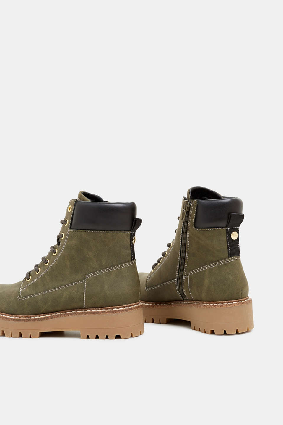 Lace-up boots in a rustic look, DARK KHAKI, detail image number 5