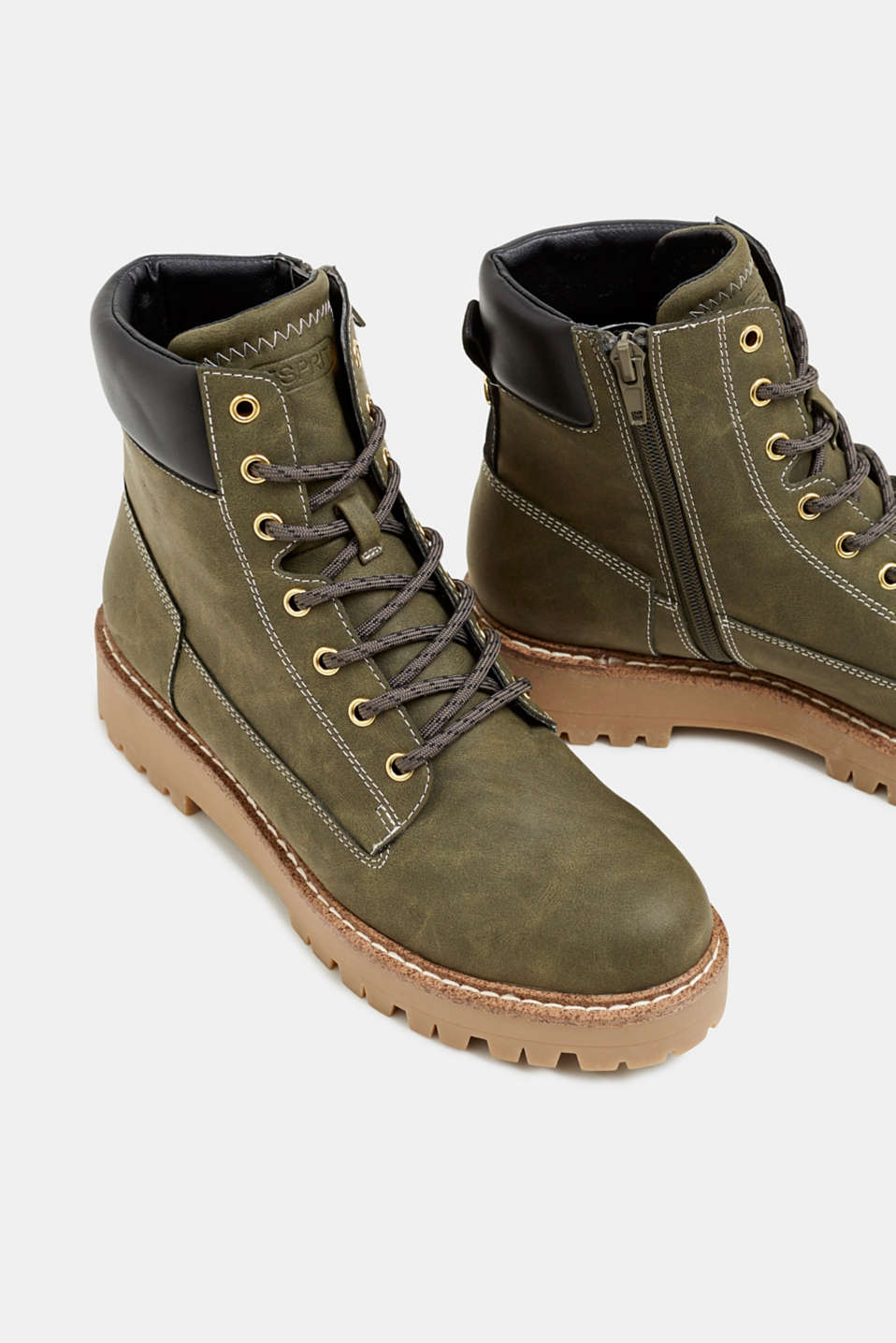 Lace-up boots in a rustic look, DARK KHAKI, detail image number 4