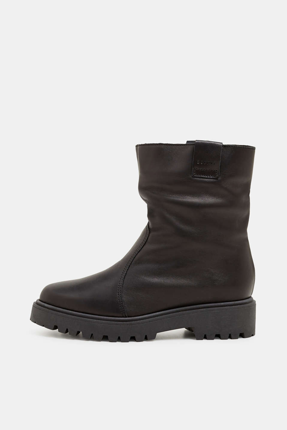 Esprit - Leather boots with faux fur lining