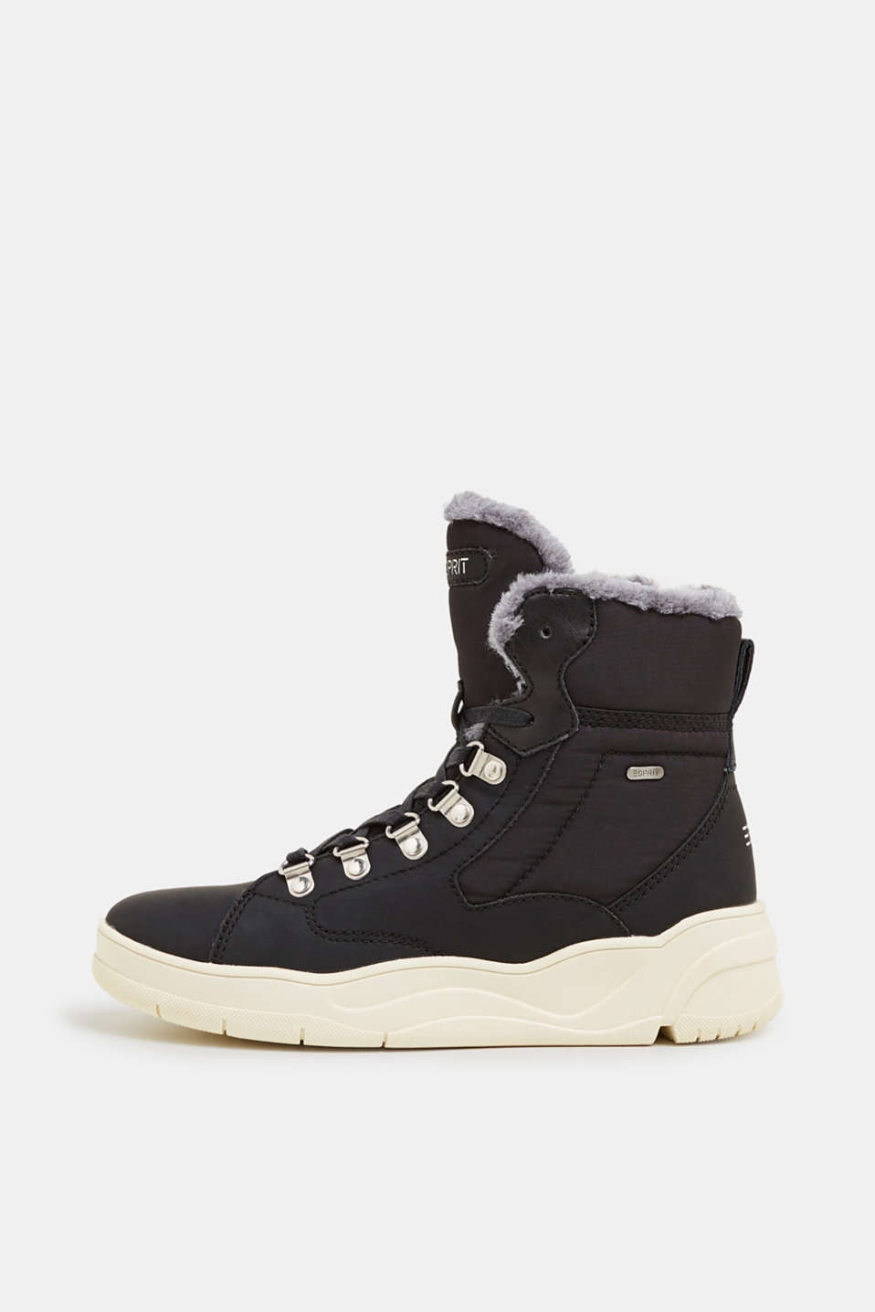 Lace-up boots with faux fur lining, BLACK, detail image number 0