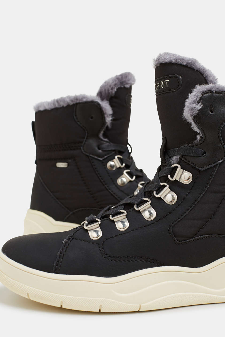 Lace-up boots with faux fur lining, BLACK, detail image number 3