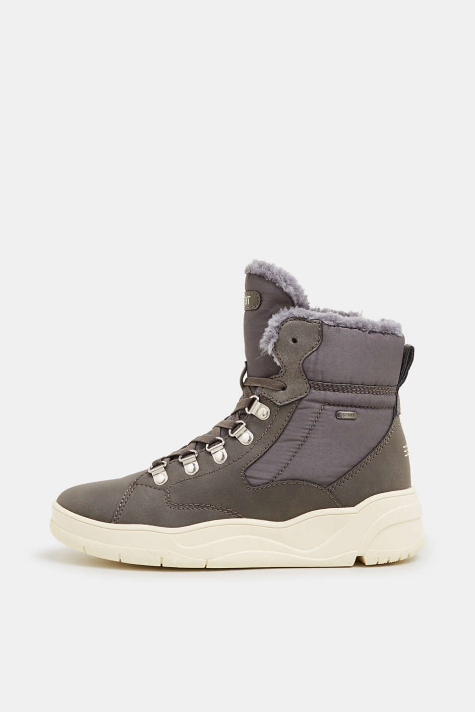 Lace-up boots with faux fur lining, GUNMETAL, detail image number 0