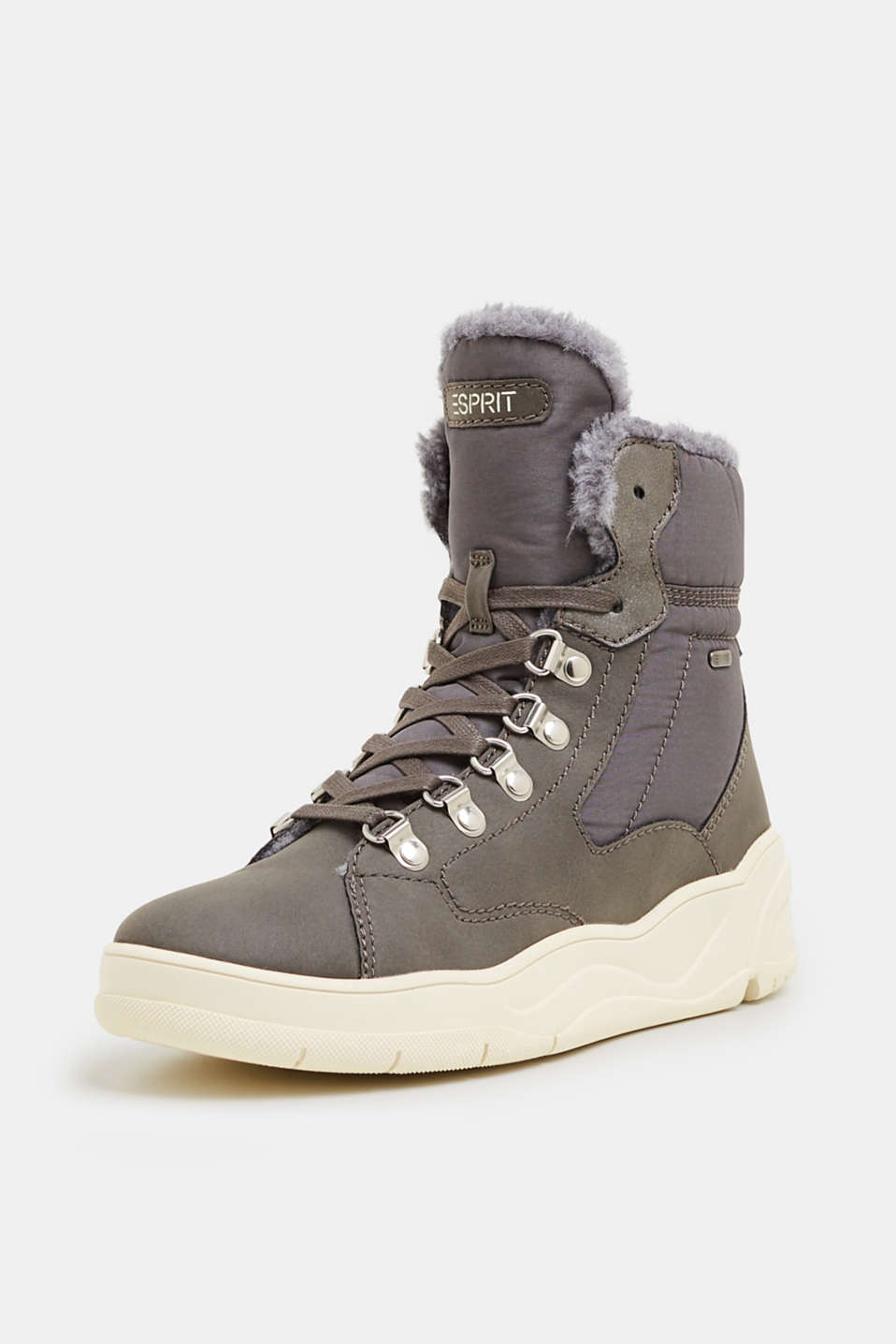 Lace-up boots with faux fur lining, GUNMETAL, detail image number 2