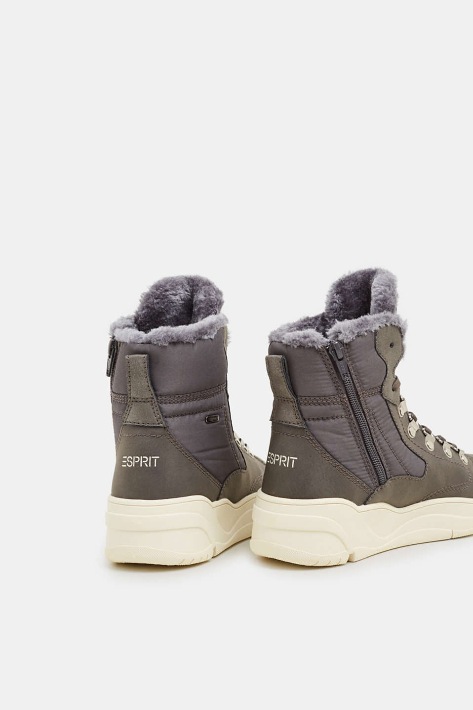 Lace-up boots with faux fur lining, GUNMETAL, detail image number 5
