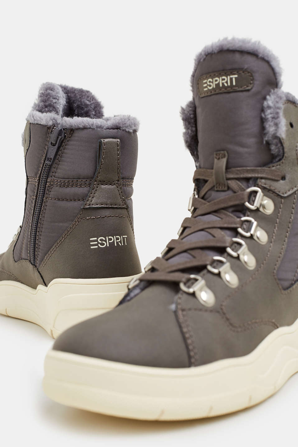 Lace-up boots with faux fur lining, GUNMETAL, detail image number 4