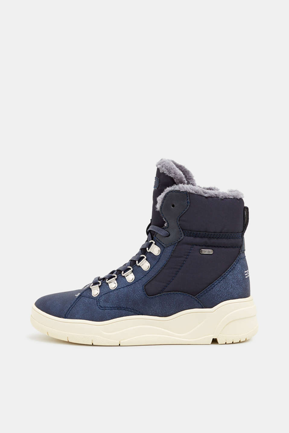 Lace-up boots with faux fur lining, NAVY, detail image number 0