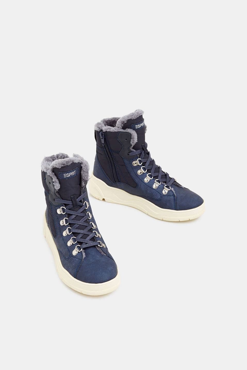 Lace-up boots with faux fur lining, NAVY, detail image number 1