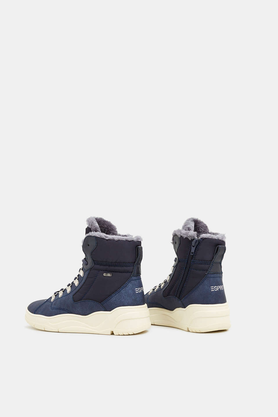 Lace-up boots with faux fur lining, NAVY, detail image number 5