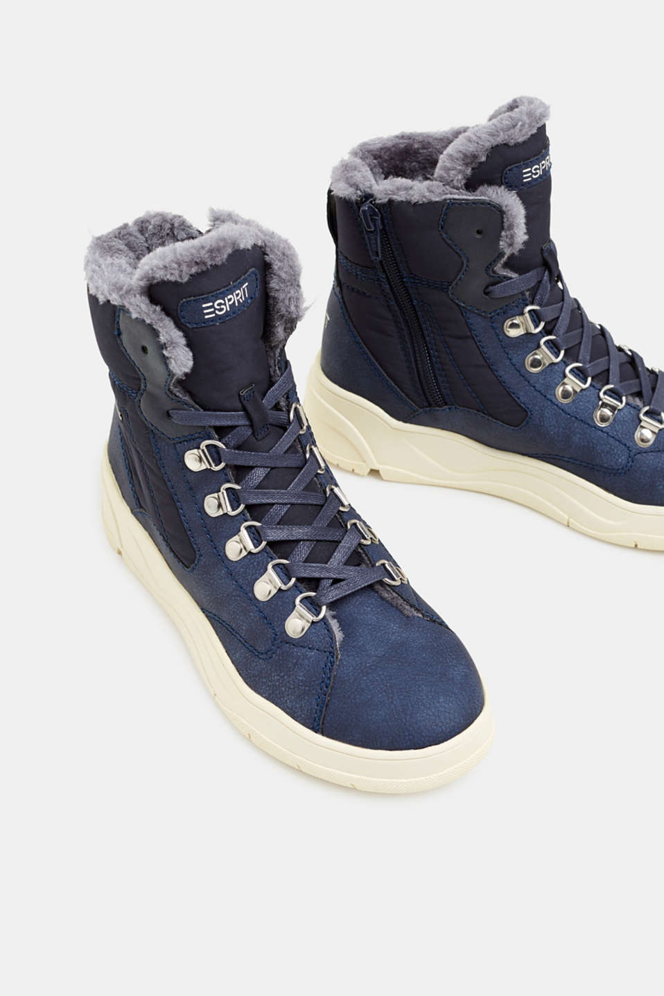 Lace-up boots with faux fur lining, NAVY, detail image number 4