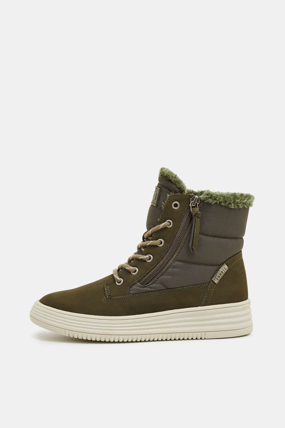 Lace-up boots with faux fur lining, KHAKI GREEN, detail image number 0