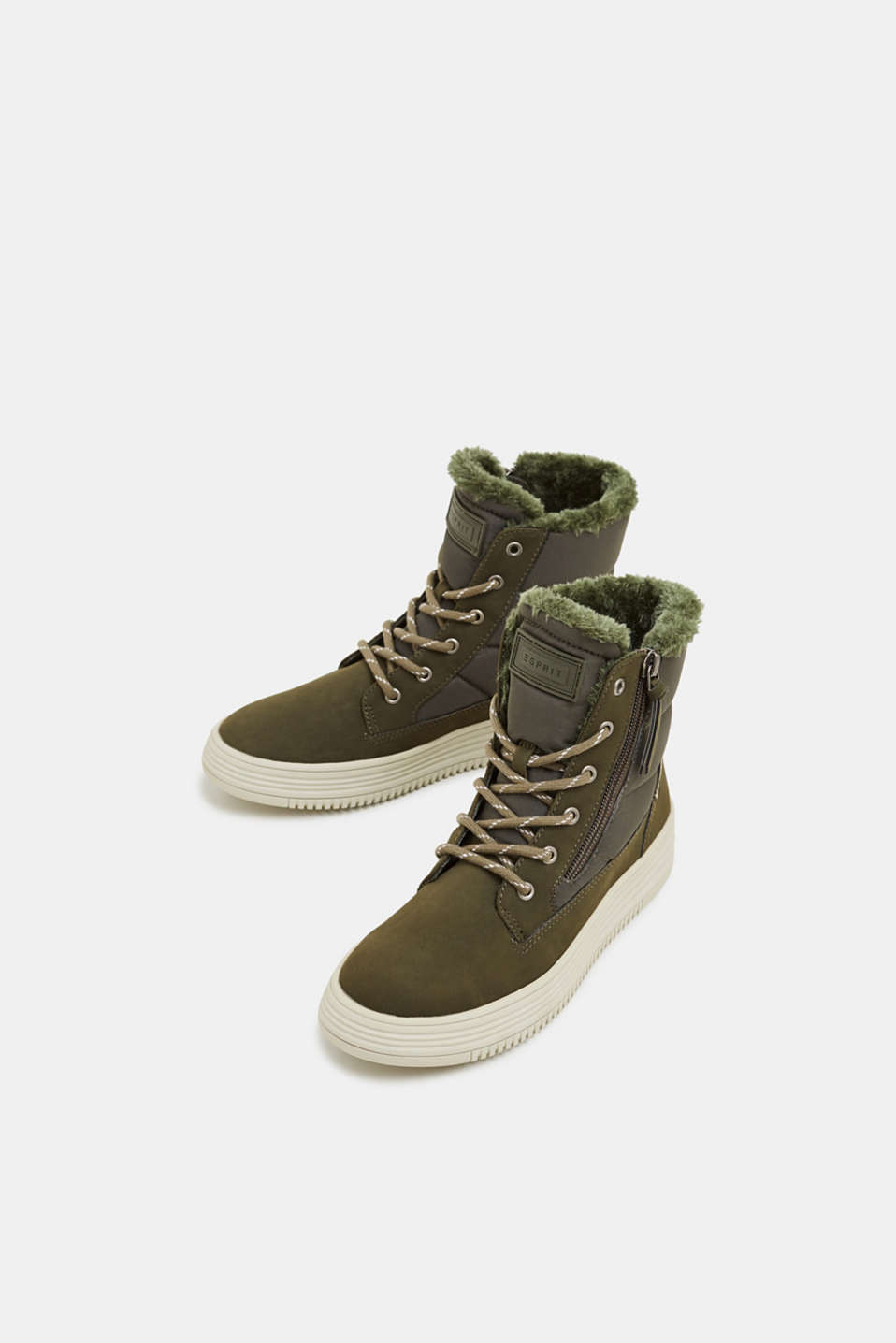 Lace-up boots with faux fur lining, KHAKI GREEN, detail image number 1