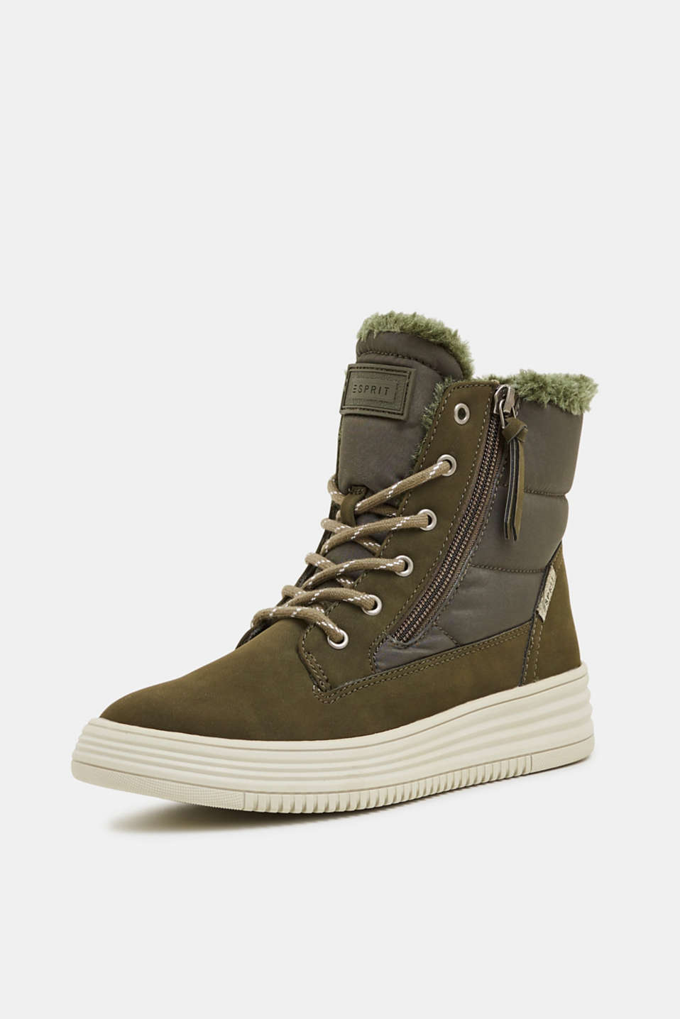Lace-up boots with faux fur lining, KHAKI GREEN, detail image number 2