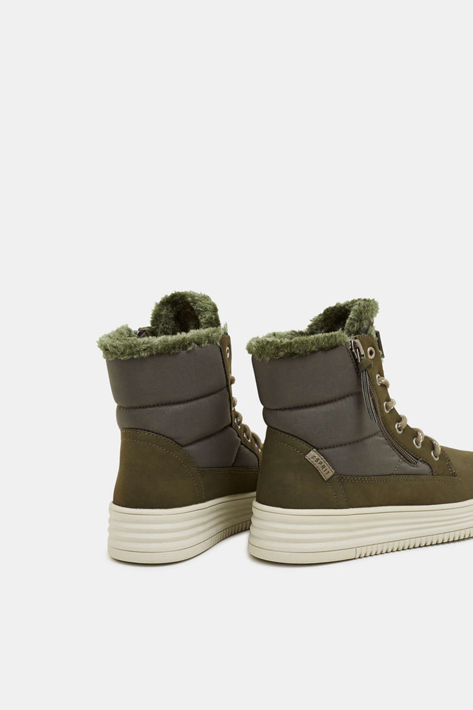 Lace-up boots with faux fur lining, KHAKI GREEN, detail image number 5