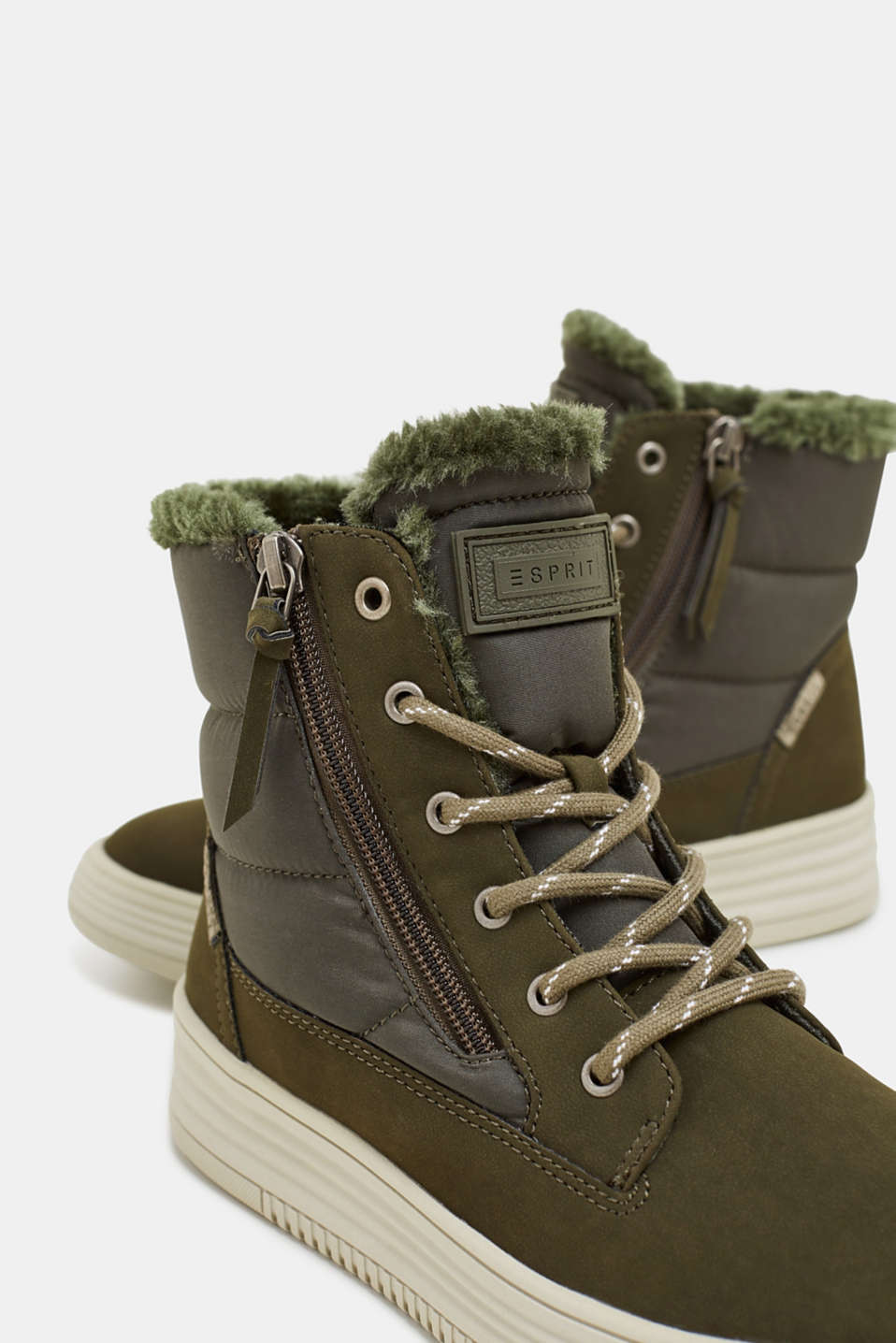 Lace-up boots with faux fur lining, KHAKI GREEN, detail image number 4