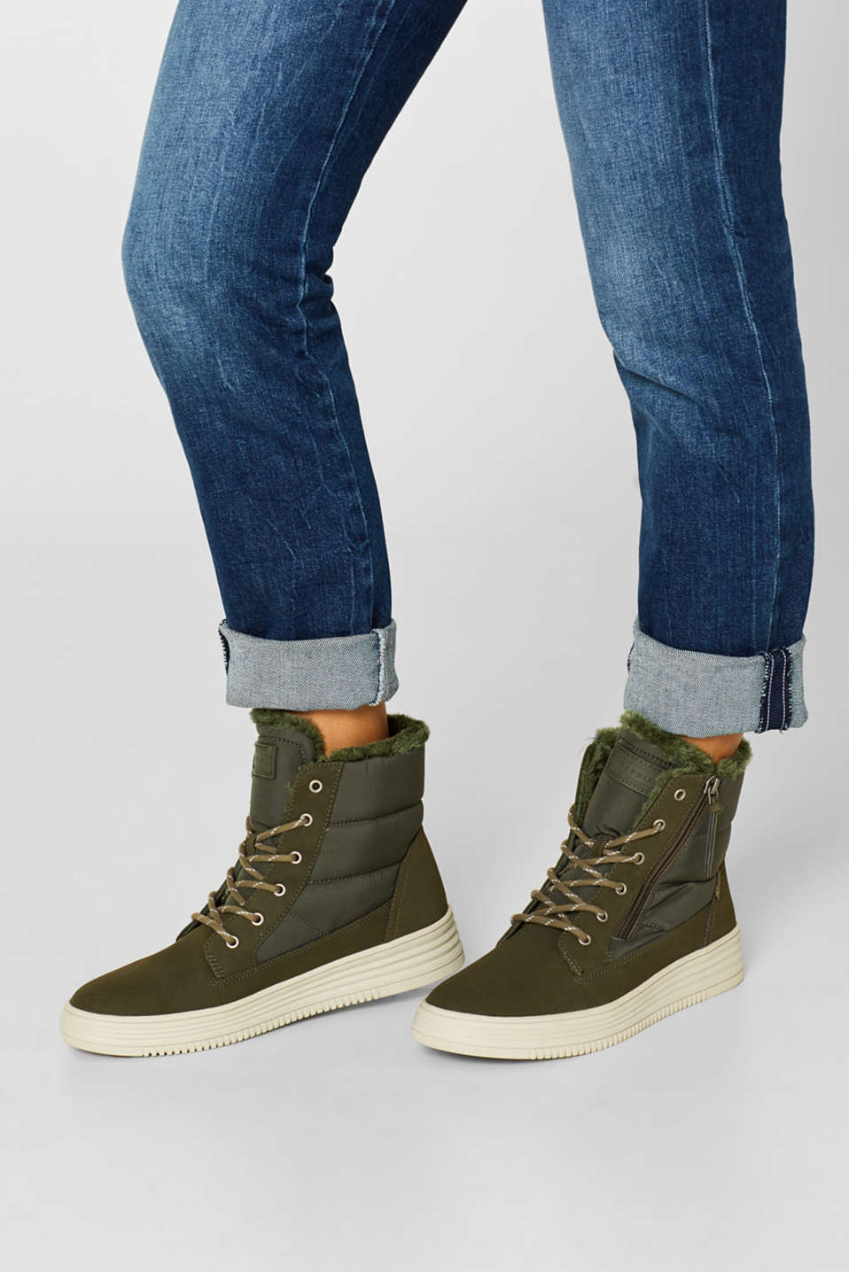 Lace-up boots with faux fur lining, KHAKI GREEN, detail image number 3